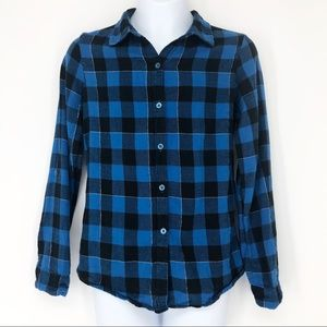 Faded Glory Girls 10/12 Blue Black Flannel Top
